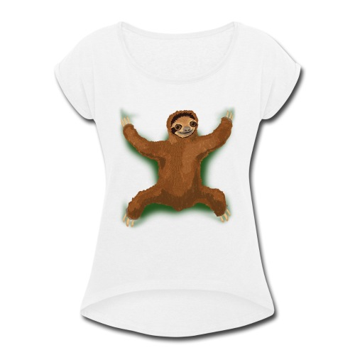 Sloth Love Hug - Green - Women's Roll Cuff T-Shirt