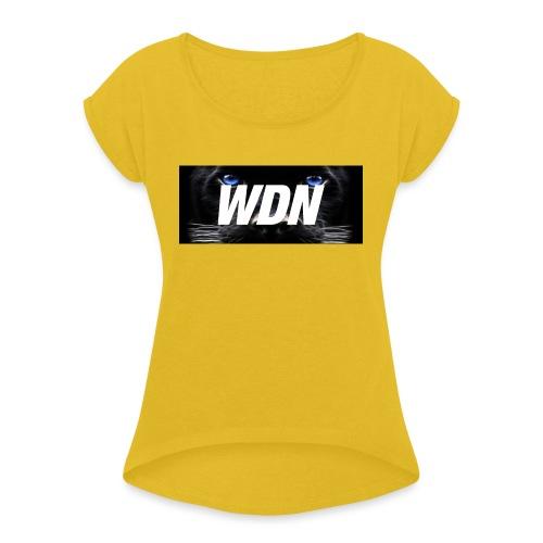 WDN black - Women's Roll Cuff T-Shirt