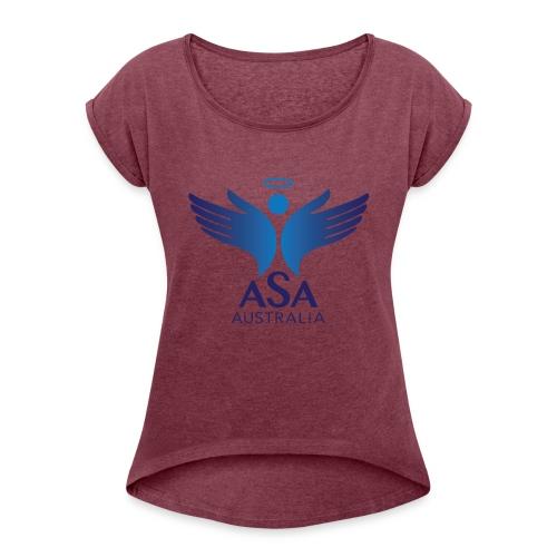 3459 Angelman Logo AUSTRALIA FA CMYK - Women's Roll Cuff T-Shirt