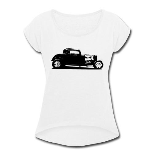 Classic American Thirties Hot Rod Car Silhouette - Women's Roll Cuff T-Shirt