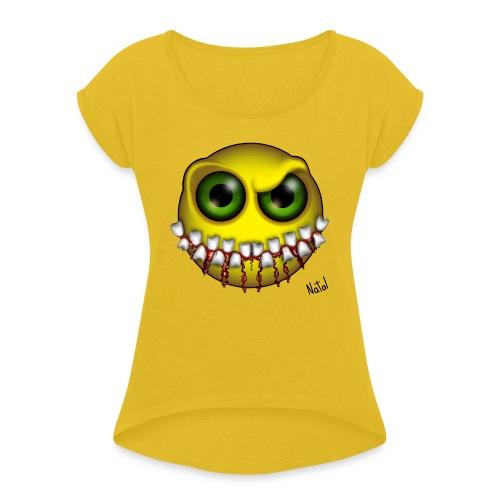 Smilez (Silly Facez) - Women's Roll Cuff T-Shirt