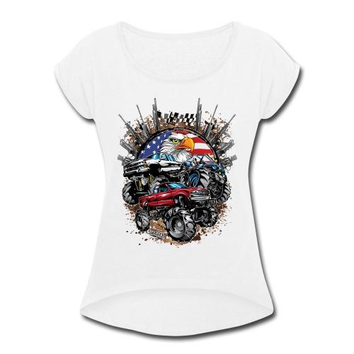 Mega Mud Trucks USA - Women's Roll Cuff T-Shirt