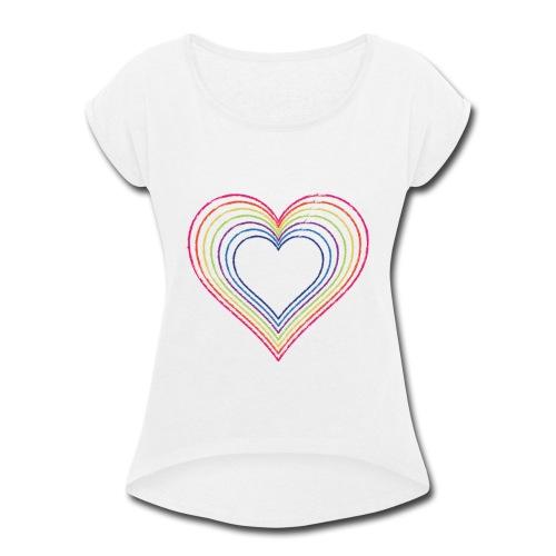 Heart rainbow - Women's Roll Cuff T-Shirt