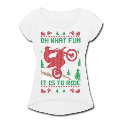 Supercross Moto Christmas - Women's Roll Cuff T-Shirt