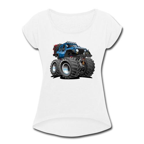 Off road 4x4 blue jeeper cartoon - Women's Roll Cuff T-Shirt