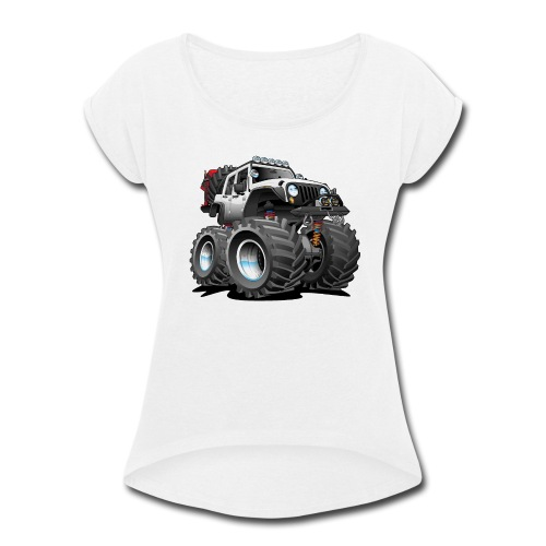 Off road 4x4 white jeeper cartoon - Women's Roll Cuff T-Shirt