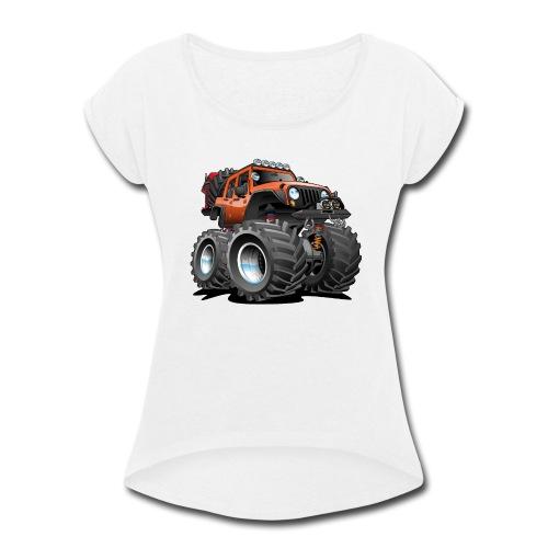 Off road 4x4 orange jeeper cartoon - Women's Roll Cuff T-Shirt