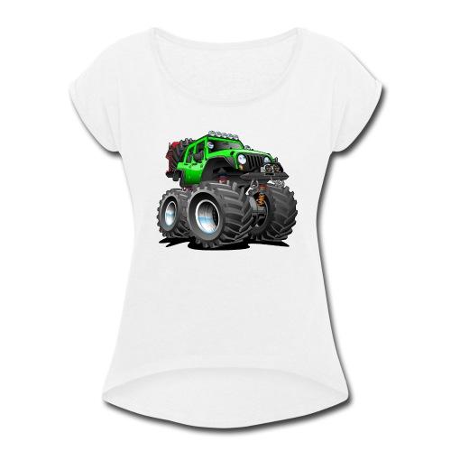 Off road 4x4 gecko green jeeper cartoon - Women's Roll Cuff T-Shirt