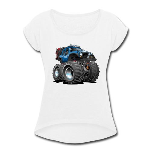 Off road 4x4 blue jeeper cartoon - Women's Roll Cuff T-Shirt