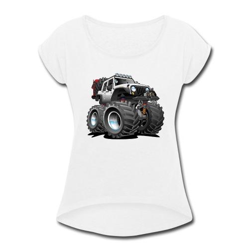 Off road 4x4 white jeeper cartoon - Women's Roll Cuff T-Shirt