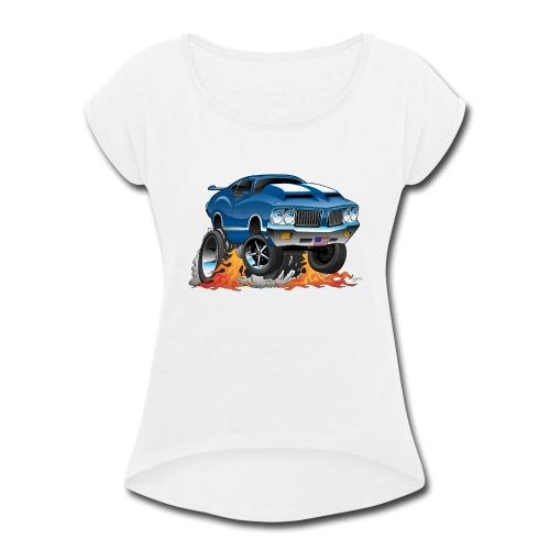 Classic American Muscle Car Hot Rod Cartoon - Women's Roll Cuff T-Shirt