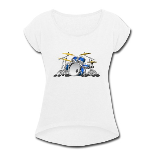 Drum Set Cartoon - Women's Roll Cuff T-Shirt