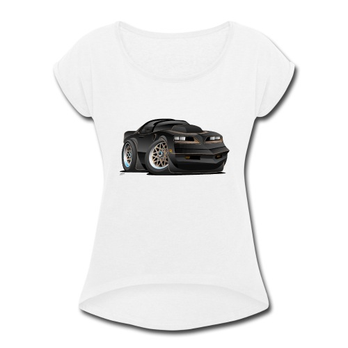 Seventies Classic Muscle Car Cartoon - Women's Roll Cuff T-Shirt