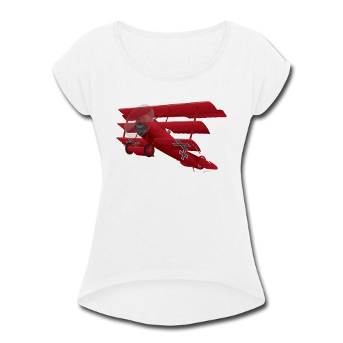 DR-1 Red Baron Triplane WWI Warbird - Women's Roll Cuff T-Shirt