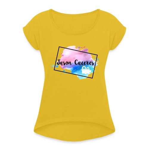 Jason Caceres Opening Intro Logo - Women's Roll Cuff T-Shirt