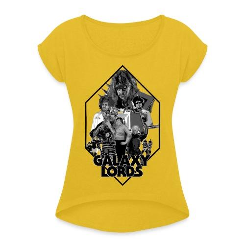 Monochrome Poster Image (Black) - Women's Roll Cuff T-Shirt