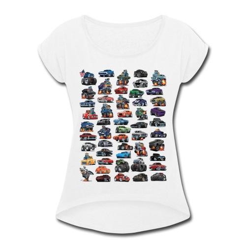 Muscle Cars, Hot Rods, Trucks and a Chopper - Women's Roll Cuff T-Shirt