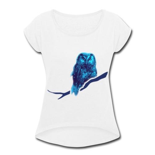 owl bird fowl blue - Women's Roll Cuff T-Shirt