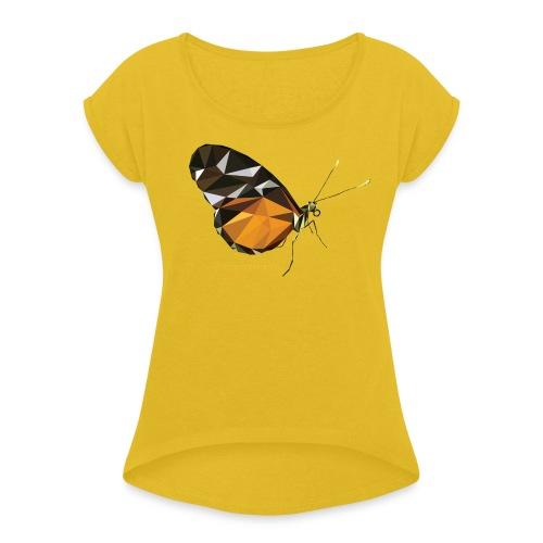 poligon_butterfly_1 - Women's Roll Cuff T-Shirt