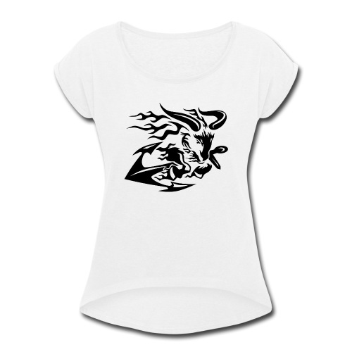 Goat with Anchor - Women's Roll Cuff T-Shirt