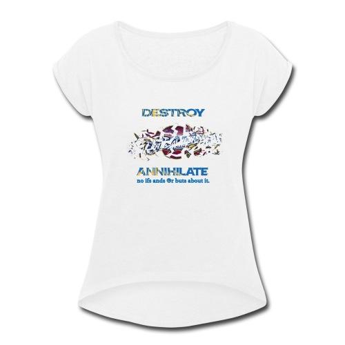 Golden State Warriors White Tees Men's Woman's - Women's Roll Cuff T-Shirt