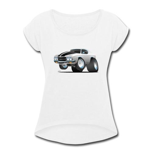 Classic 70's American Muscle Car Cartoon - Women's Roll Cuff T-Shirt