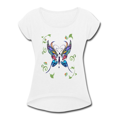 Bright Butterfly - Women's Roll Cuff T-Shirt
