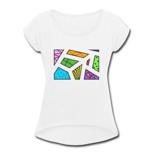 geometric artwork 1 - Women's Roll Cuff T-Shirt