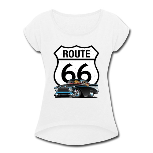 Route 66 Classic Car Nostalgia - Women's Roll Cuff T-Shirt