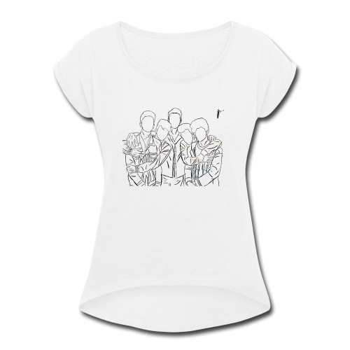 Why Dont We Outline In White - Women's Roll Cuff T-Shirt