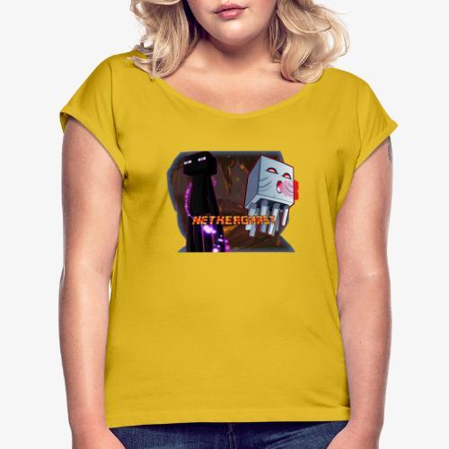 NetherGhast Mascot - Women's Roll Cuff T-Shirt