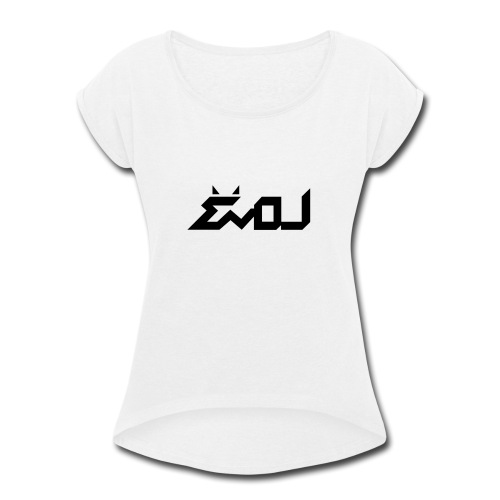 evol logo - Women's Roll Cuff T-Shirt