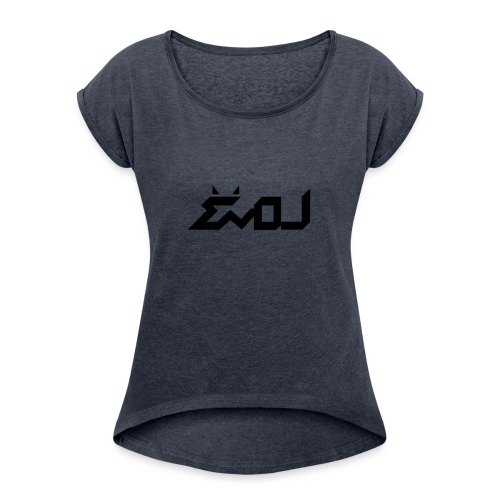 evol logo - Women's Roll Cuff T-Shirt
