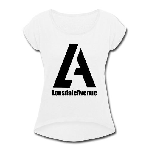 Lonsdale Avenue Logo Black Text - Women's Roll Cuff T-Shirt