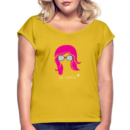 Geo Rockstar (her) - Women's Roll Cuff T-Shirt
