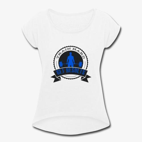 TRAIN HARD CLASSIC HOODIE - Gray & Blue - Women's Roll Cuff T-Shirt