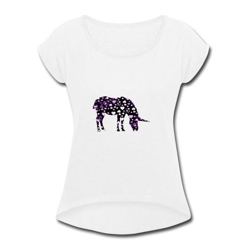 Unicorn Hearts purple - Women's Roll Cuff T-Shirt