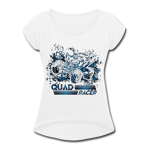 Blue Quad Racer Grunge - Women's Roll Cuff T-Shirt