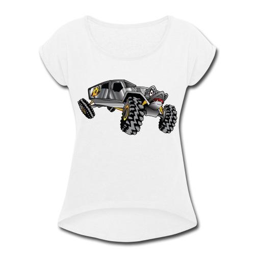 Rock Crawling Monster Truck Silver - Women's Roll Cuff T-Shirt