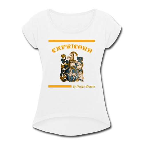 CAPRICORN ORANGE - Women's Roll Cuff T-Shirt