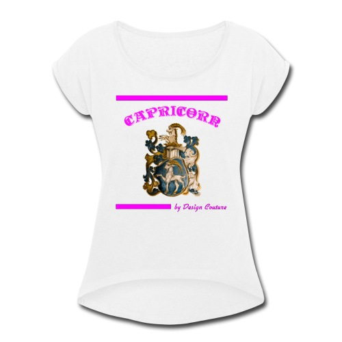 CAPRICORN PINK - Women's Roll Cuff T-Shirt