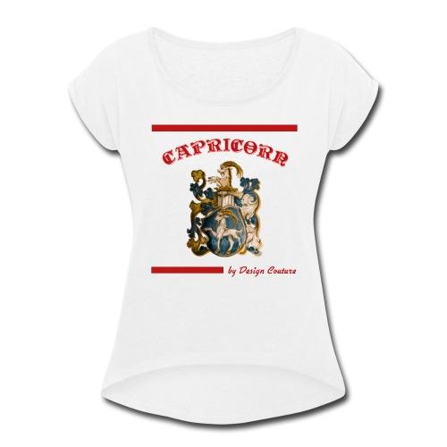 CAPRICORN RED - Women's Roll Cuff T-Shirt