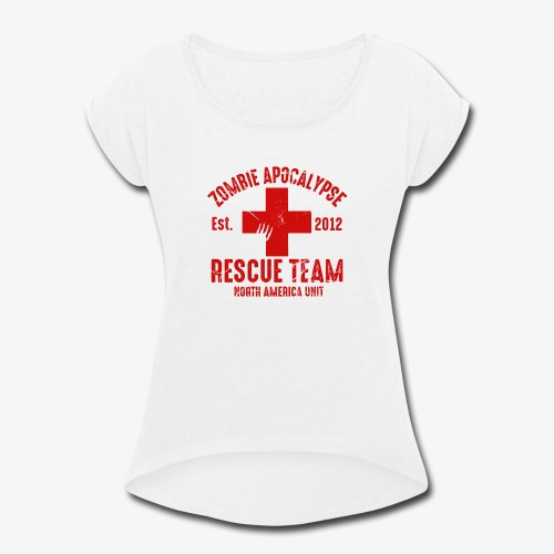 Zombie Rescue Halloween Shirt - Women's Roll Cuff T-Shirt