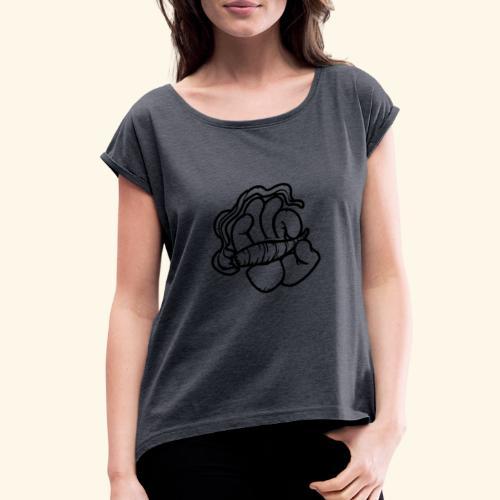 SMOKING HAND - HOODIE / SHIRT - Women's Roll Cuff T-Shirt