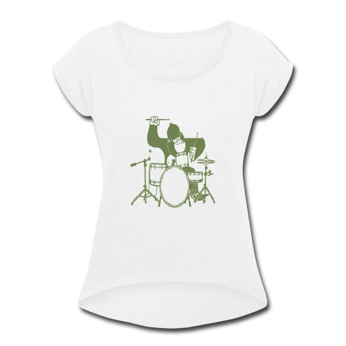GORILLA PLAYING ON DRUMS - Women's Roll Cuff T-Shirt