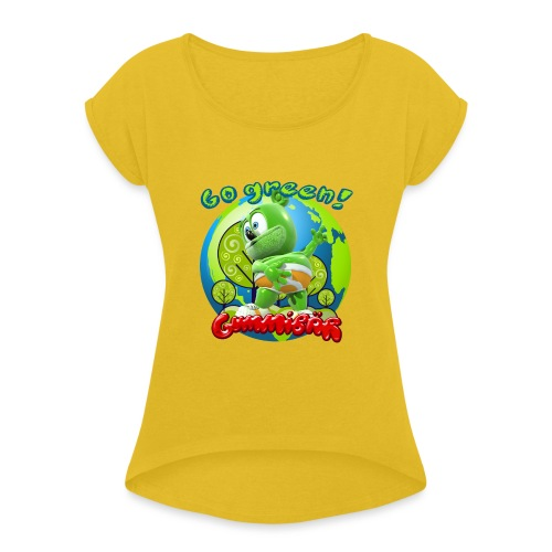 Gummibär Go Green Earth Day Earth - Women's Roll Cuff T-Shirt