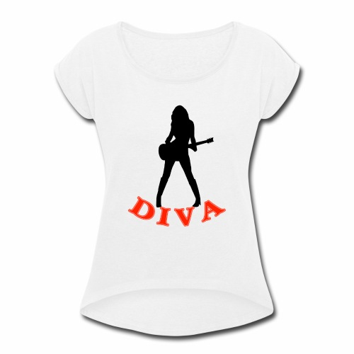 Rock Star Diva - Women's Roll Cuff T-Shirt