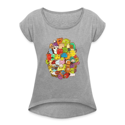Doodle for a poodle - Women's Roll Cuff T-Shirt
