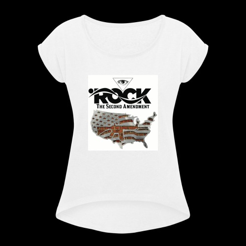 Eye Rock the 2nd design - Women's Roll Cuff T-Shirt