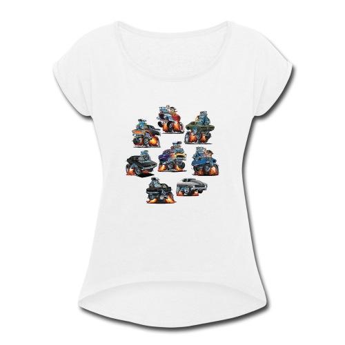 Car Crazy Classic Hot Rod Muscle Car Cartoons - Women's Roll Cuff T-Shirt